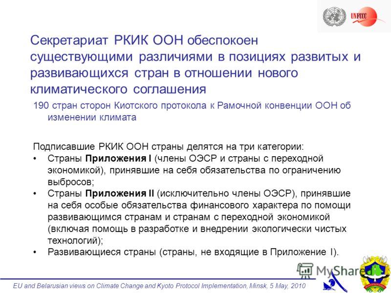 EU and Belarusian views on Climate Change and Kyoto Protocol Implementation, Minsk, 5 May, 2010 190 стран сторон Киотского протокола к Рамочной конвенции ООН об изменении климата Подписавшие РКИК ООН страны делятся на три категории: Страны Приложения