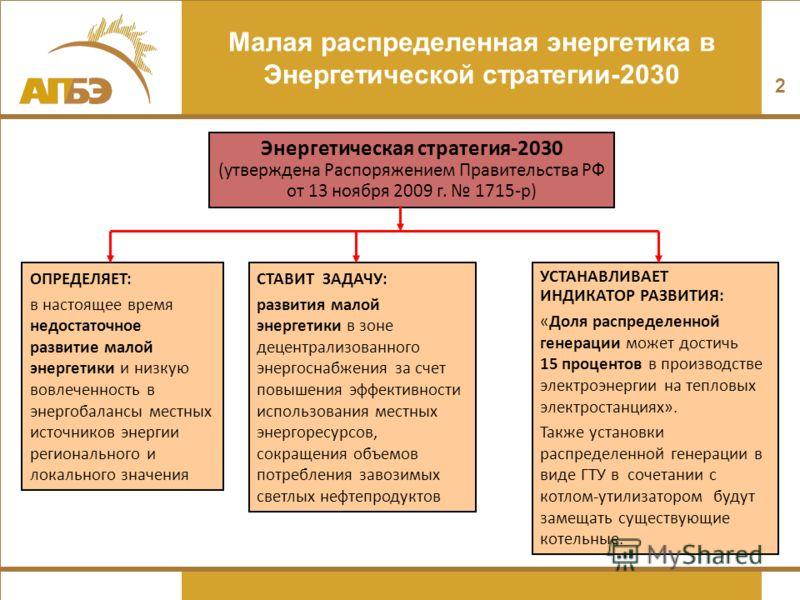 2 Малая распределенная энергетика в Энергетической стратегии-2030 Энергетическая стратегия-2030 (утверждена Распоряжением Правительства РФ от 13 ноября 2009 г. 1715-р) ОПРЕДЕЛЯЕТ: в настоящее время недостаточное развитие малой энергетики и низкую вов