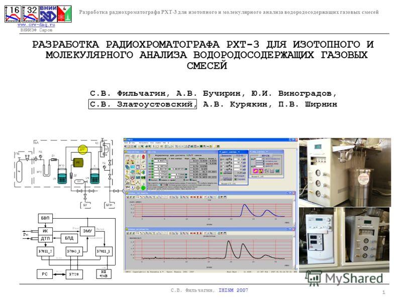 www.crw-daq.ru www.crw-daq.ru ВНИИЭФ Саров Разработка радиохроматографа РХТ-3 для изотопного и молекулярного анализа водородосодержащих газовых смесей 1 С.В. Фильчагин, IHISM 2007 РАЗРАБОТКА РАДИОХРОМАТОГРАФА РХТ-3 ДЛЯ ИЗОТОПНОГО И МОЛЕКУЛЯРНОГО АНАЛ