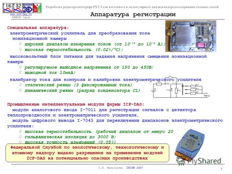 www.crw-daq.ru www.crw-daq.ru ВНИИЭФ Саров Разработка радиохроматографа РХТ-3 для изотопного и молекулярного анализа водородосодержащих газовых смесей 4 С.В. Фильчагин, IHISM 2007 Специальная аппаратура: электрометрический усилитель для преобразовани