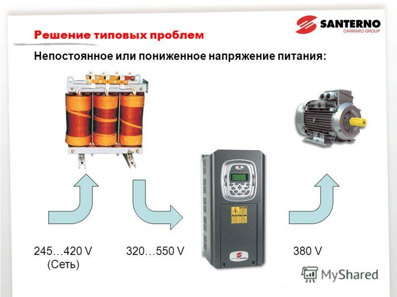 Решение типовых проблем Непостоянное или пониженное напряжение питания: 245…420 V (Сеть) 320…550 V 380 V