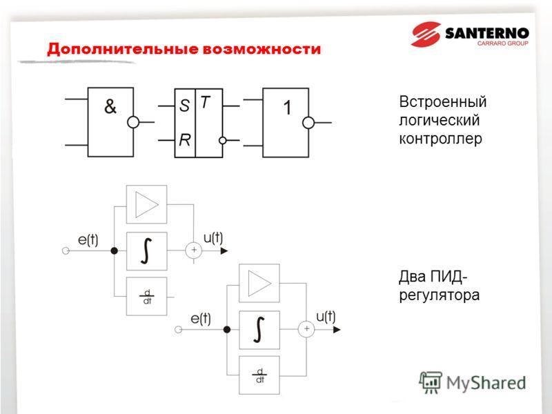 Дополнительные возможности Встроенный логический контроллер Два ПИД- регулятора