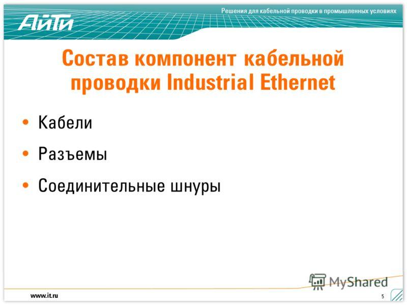 www.it.ru Решения для кабельной проводки в промышленных условиях 5 Состав компонент кабельной проводки Industrial Ethernet Кабели Разъемы Соединительные шнуры