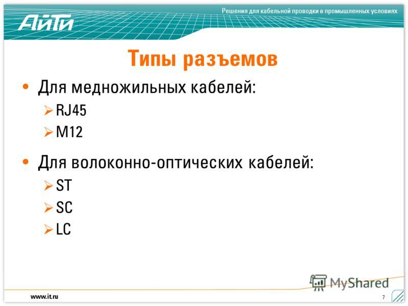 www.it.ru Решения для кабельной проводки в промышленных условиях 7 Типы разъемов Для медножильных кабелей: RJ45 M12 Для волоконно-оптических кабелей: ST SC LC