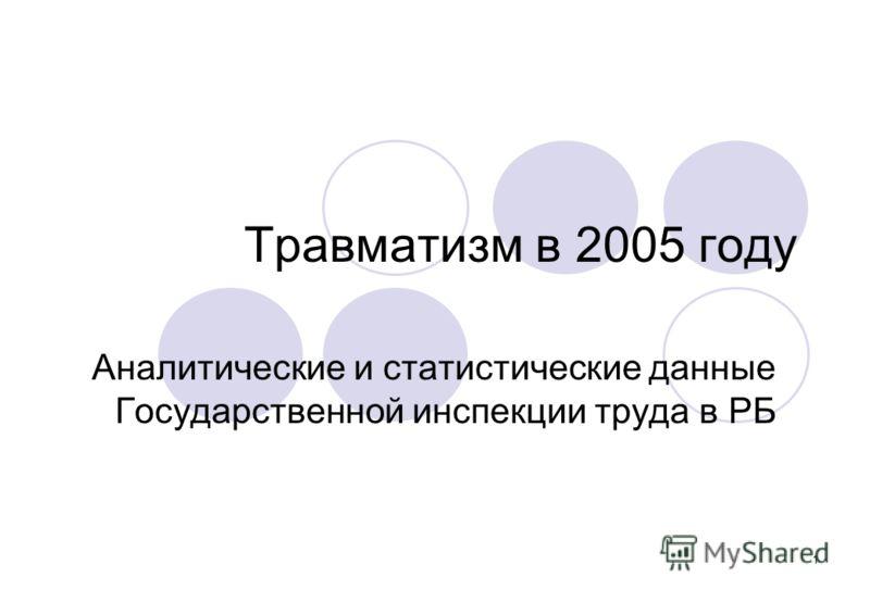 1 Травматизм в 2005 году Аналитические и статистические данные Государственной инспекции труда в РБ