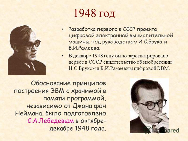 1941 год Организация первой в СССР вычислительной лаборатории, прообраза будущих вычислительных центров.