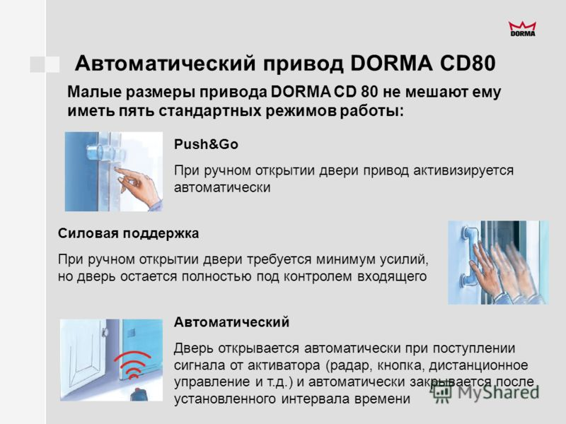 Автоматический привод DORMA CD80 Push&Go При ручном открытии двери привод активизируется автоматически Силовая поддержка При ручном открытии двери требуется минимум усилий, но дверь остается полностью под контролем входящего Автоматический Дверь откр