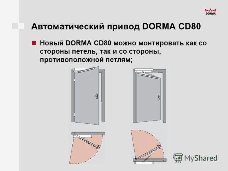 Автоматический привод DORMA CD80 Новый DORMA CD80 можно монтировать как со стороны петель, так и со стороны, противоположной петлям;