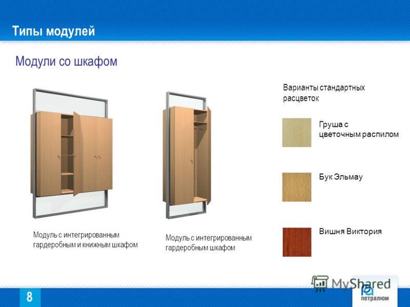 Модули со шкафом Модуль с интегрированным гардеробным и книжным шкафом Модуль с интегрированным гардеробным шкафом Типы модулей Груша с цветочным распилом Бук Эльмау Вишня Виктория Варианты стандартных расцветок 8