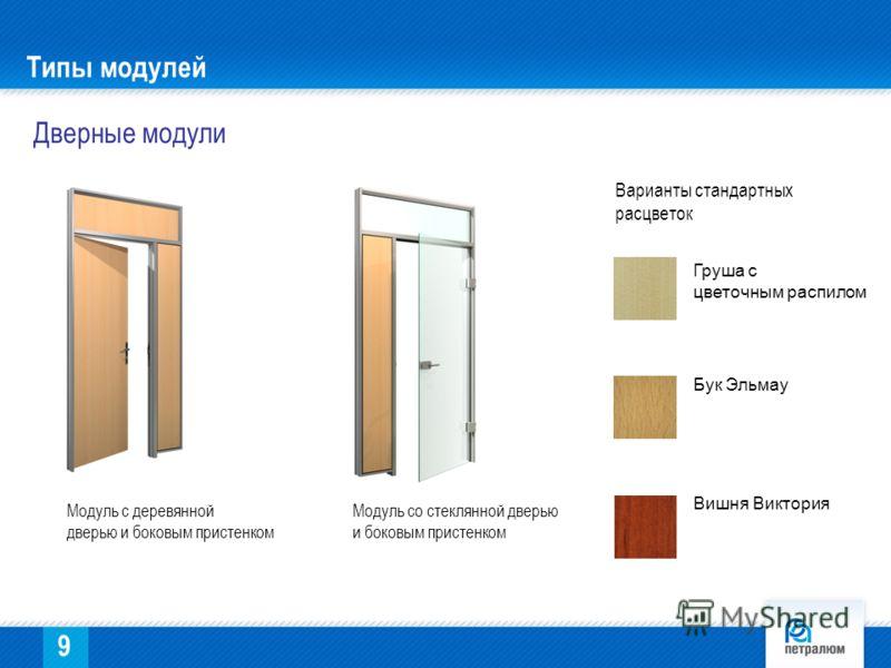 Типы модулей Дверные модули Модуль с деревянной дверью и боковым пристенком Модуль со стеклянной дверью и боковым пристенком Груша с цветочным распилом Бук Эльмау Вишня Виктория Варианты стандартных расцветок 9