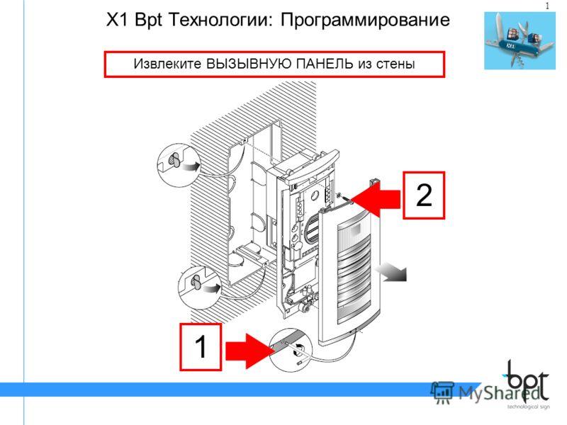 1 X1 Bpt Tехнологии: Программирование Извлеките ВЫЗЫВНУЮ ПАНЕЛЬ из стены 1 2