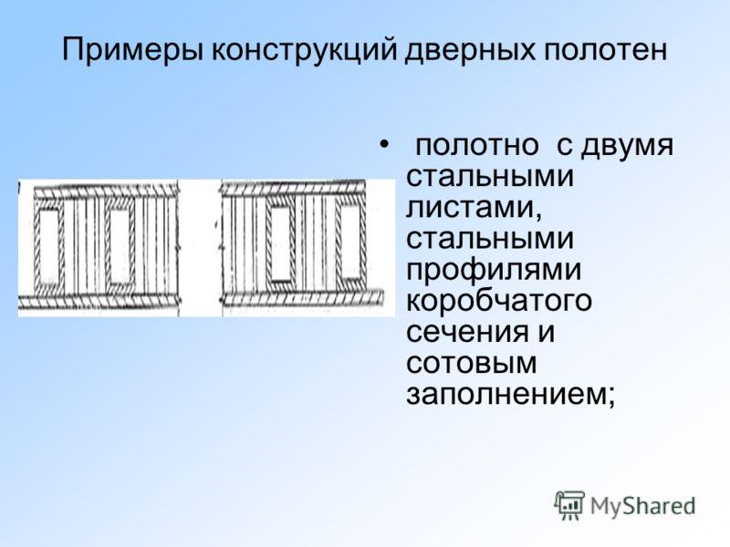 Примеры конструкций дверных полотен полотно с двумя стальными листами, стальными профилями коробчатого сечения и сотовым заполнением;
