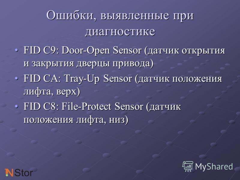 Ошибки, выявленные при диагностике FID C9: Door-Open Sensor (датчик открытия и закрытия дверцы привода)FID C9: Door-Open Sensor (датчик открытия и закрытия дверцы привода) FID CA: Tray-Up Sensor (датчик положения лифта, верх)FID CA: Tray-Up Sensor (д