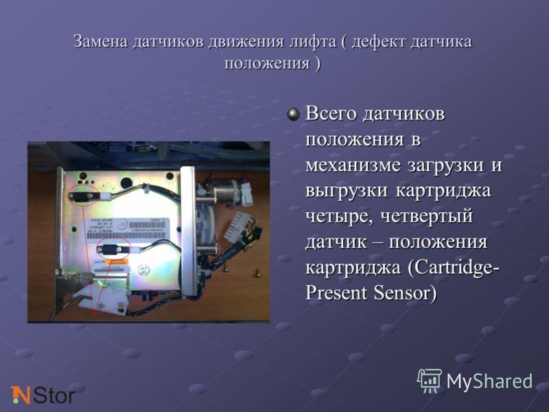 Замена датчиков движения лифта ( дефект датчика положения ) Всего датчиков положения в механизме загрузки и выгрузки картриджа четыре, четвертый датчик – положения картриджа (Cartridge- Present Sensor)