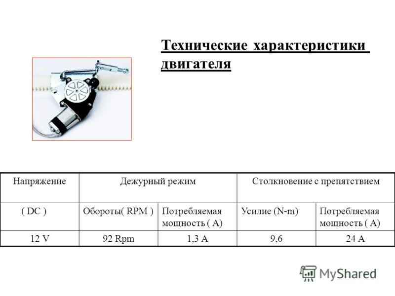 Технические характеристики двигателя НапряжениеДежурный режимСтолкновение с препятствием ( DC )Обороты( RPM )Потребляемая мощность ( A) Усилие (N-m)Потребляемая мощность ( A) 12 V92 Rpm1,3 A9,624 A