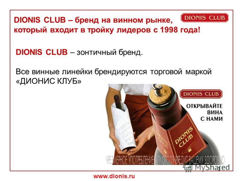 www.dionis.ru 3 DIONIS CLUB – зонтичный бренд. Все винные линейки брендируются торговой маркой «ДИОНИС КЛУБ» DIONIS CLUB – бренд на винном рынке, который входит в тройку лидеров с 1998 года!