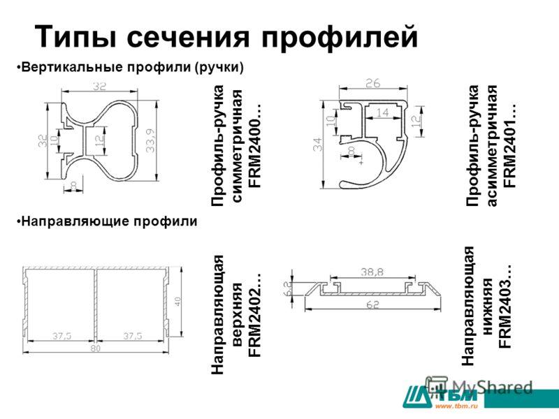 Типы сечения профилей Профиль-ручка симметричная FRM2400… Профиль-ручка асимметричная FRM2401… Вертикальные профили (ручки) Направляющие профили Направляющая верхняя FRM2402… Направляющая нижняя FRM2403…