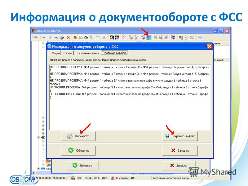 Информация о документообороте с ФСС