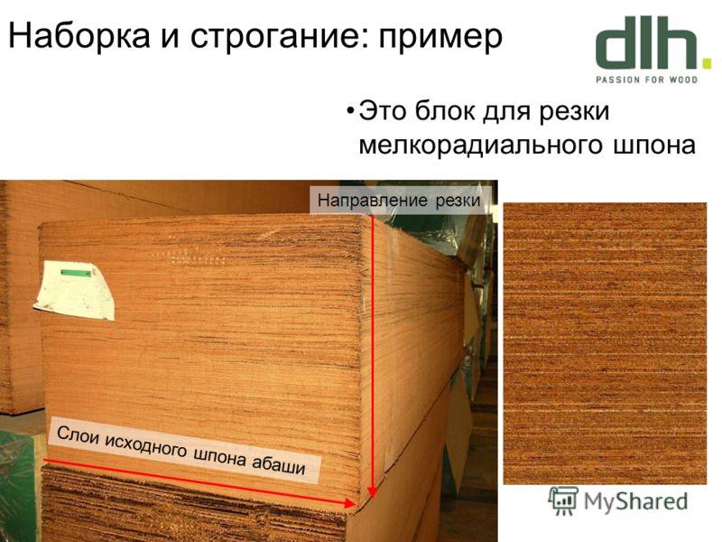 Наборка и строгание: пример Это блок для резки мелкорадиального шпона Направление резки Слои исходного шпона абаши
