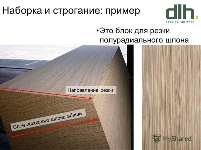 Это блок для резки полурадиального шпона Направление резки Слои исходного шпона абаши Наборка и строгание: пример
