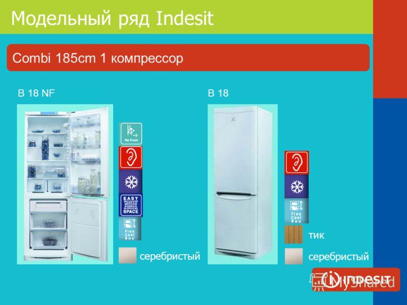 Модельный ряд Indesit B 18 тик серебристый B 18 NF серебристый Combi 185cm 1 компрессор
