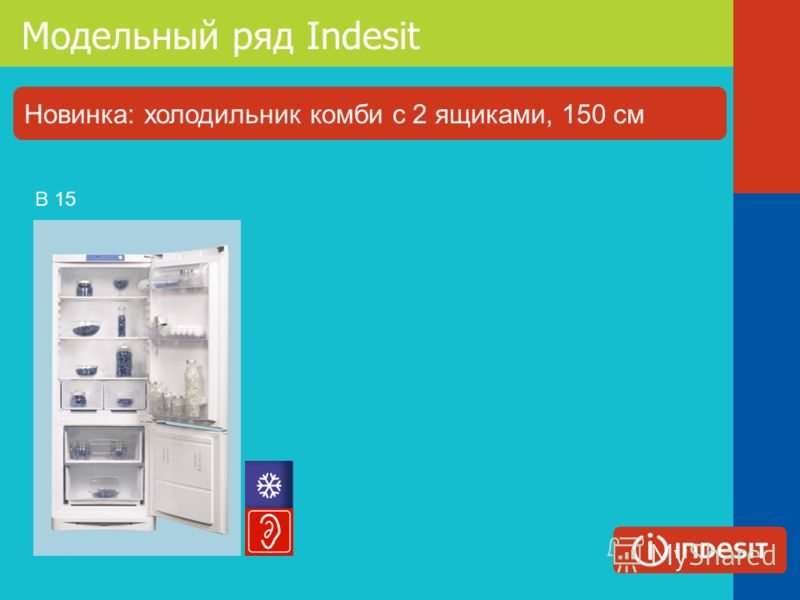 Модельный ряд Indesit B 15 Новинка: холодильник комби с 2 ящиками, 150 см