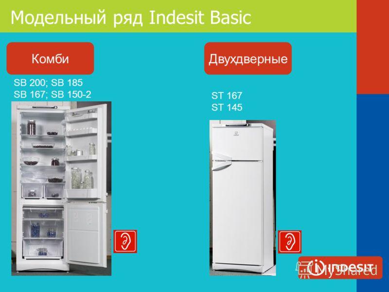 Модельный ряд Indesit Basic Комби ST 167 ST 145 SB 200; SB 185 SB 167; SB 150-2 Двухдверные