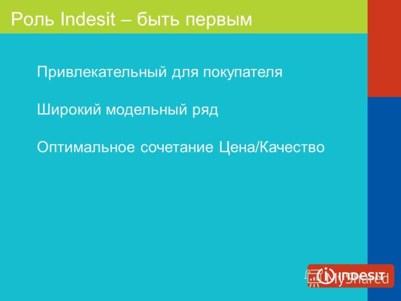 Роль Indesit – быть первым Привлекательный для покупателя Широкий модельный ряд Оптимальное сочетание Цена/Качество