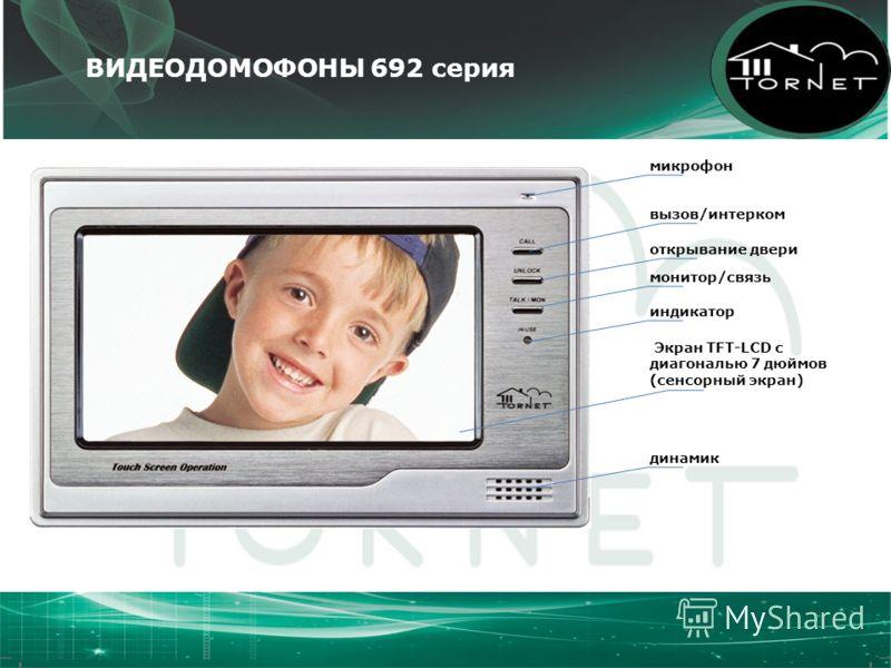 ВИДЕОДОМОФОНЫ 692 серия микрофон открывание двери монитор/связь динамик Экран TFT-LCD с диагональю 7 дюймов (сенсорный экран) вызов/интерком индикатор