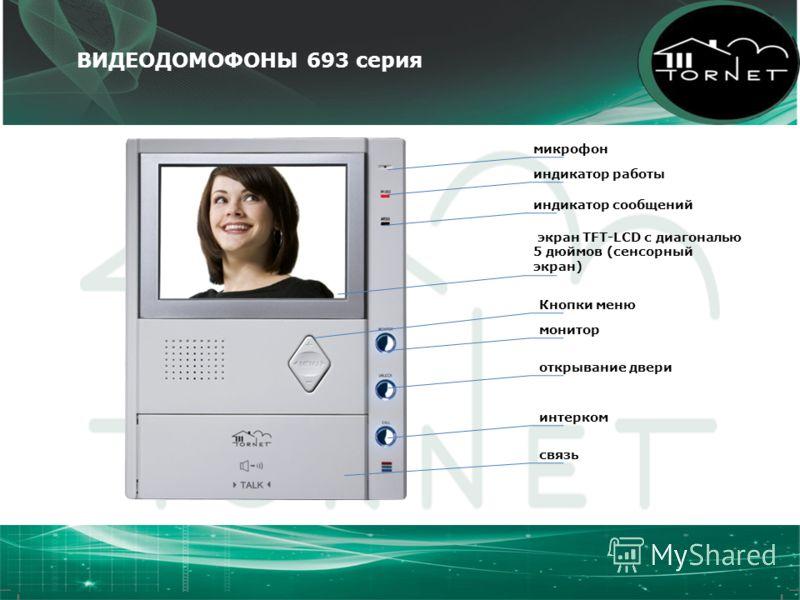 ВИДЕОДОМОФОНЫ 693 серия микрофон индикатор работы индикатор сообщений экран TFT-LCD с диагональю 5 дюймов (сенсорный экран) монитор открывание двери интерком связь Кнопки меню