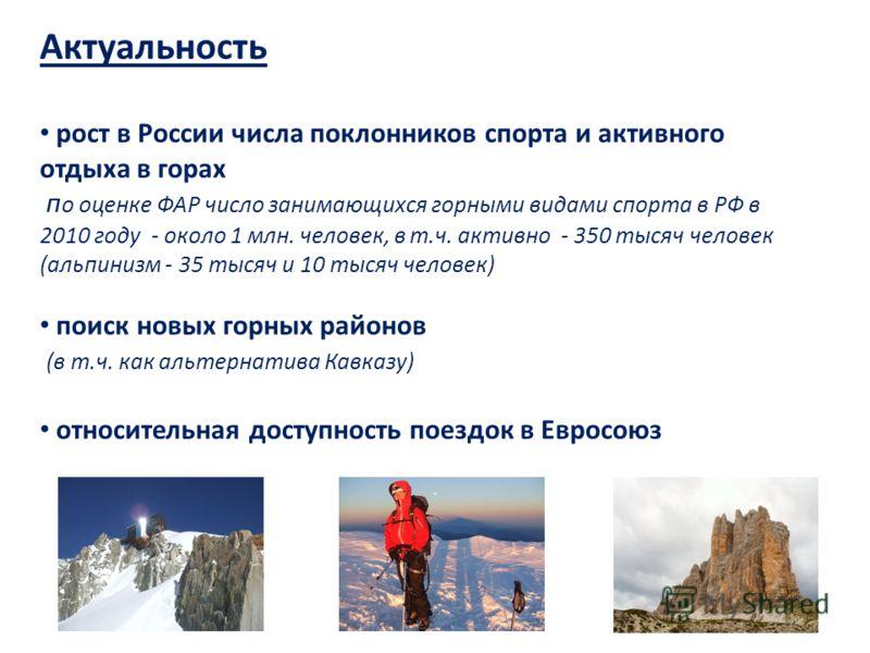 Актуальность рост в России числа поклонников спорта и активного отдыха в горах п о оценке ФАР число занимающихся горными видами спорта в РФ в 2010 году - около 1 млн. человек, в т.ч. активно - 350 тысяч человек (альпинизм - 35 тысяч и 10 тысяч челове