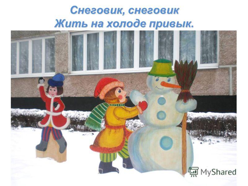 Снеговик, снеговик Жить на холоде привык.
