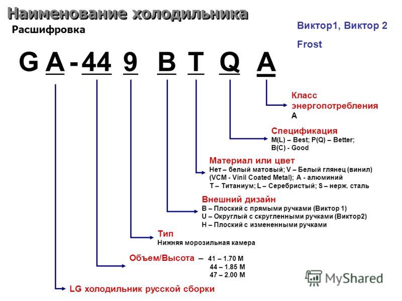 Наименование холодильника G A-449BQ LG холодильник русской сборки Объем/Высота – 41 – 1.70 M 44 – 1.85 M 47 – 2.00 M Тип Нижняя морозильная камера Расшифровка T Внешний дизайн B – Плоский с прямыми ручками (Виктор 1) U – Округлый с скругленными ручка