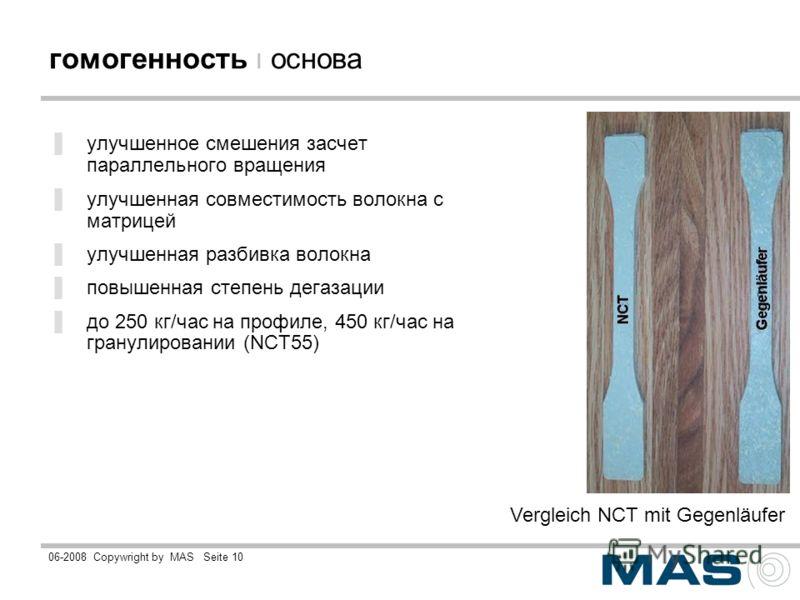06-2008Copywright by MASSeite 10 гомогенность ı основа улучшенное смешения засчет параллельного вращения улучшенная совместимость волокна с матрицей улучшенная разбивка волокна повышенная степень дегазации до 250 кг/час на профиле, 450 кг/час на гран