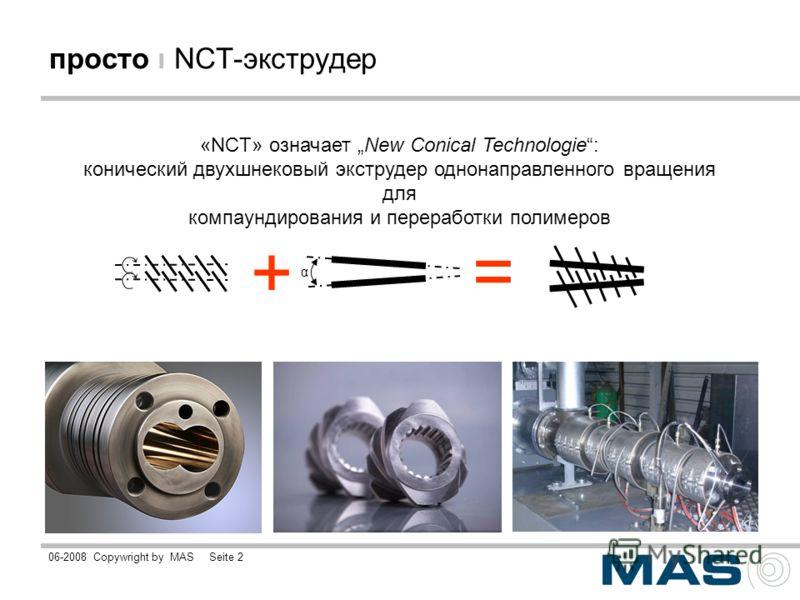 06-2008Copywright by MASSeite 2 просто ı NCT-экструдер «NCT» означает New Conical Technologie: конический двухшнековый экструдер однонаправленного вращения для компаундирования и переработки полимеров + = α