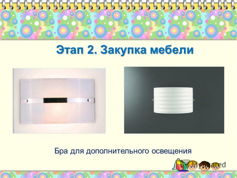 Бра для дополнительного освещения Этап 2. Закупка мебели