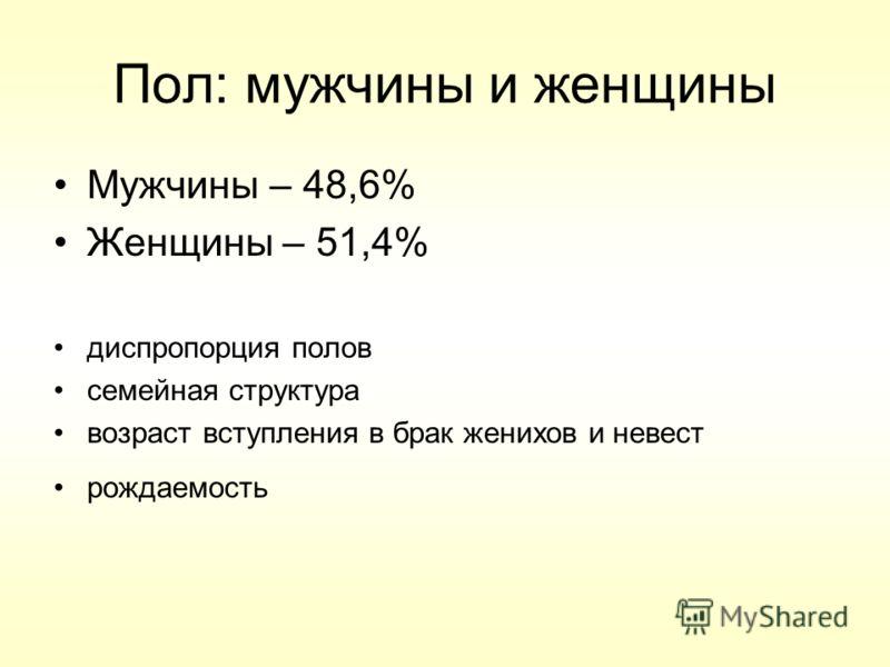 Пол: мужчины и женщины Мужчины – 48,6% Женщины – 51,4% диспропорция полов семейная структура возраст вступления в брак женихов и невест рождаемость
