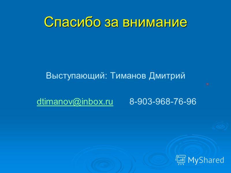 Спасибо за внимание Выступающий: Тиманов Дмитрий dtimanov@inbox.ru 8-903-968-76-96 dtimanov@inbox.ru