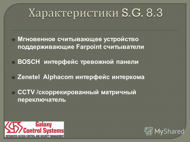 Мгновенное считывающее устройство поддерживающие Farpoint считыватели BOSCH интерфейс тревожной панели Zenetel Alphacom интерфейс интеркома CCTV /скоррекированный матричный переключатель