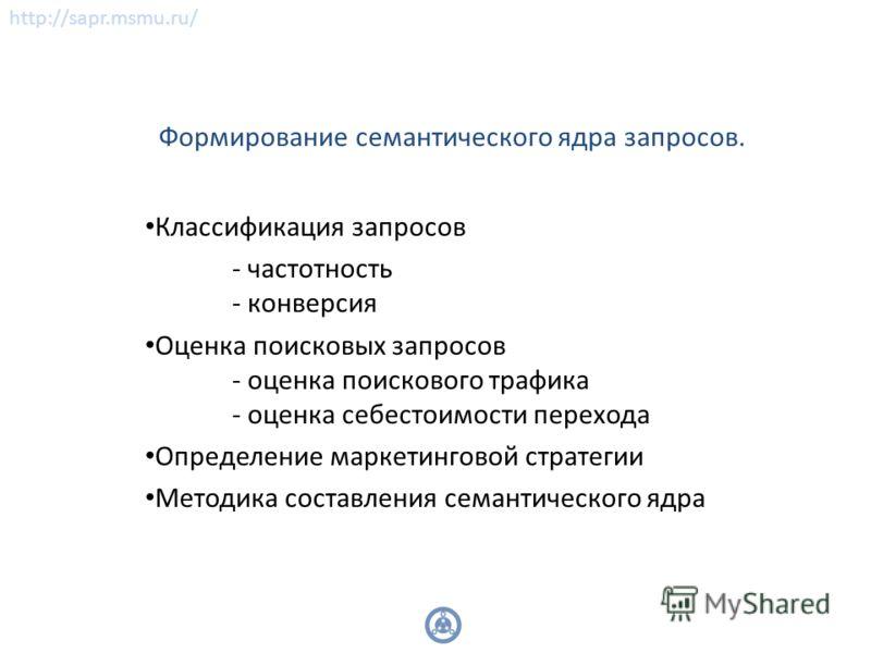 http://sapr.msmu.ru/ Формирование семантического ядра запросов. Классификация запросов - частотность - конверсия Оценка поисковых запросов - оценка поискового трафика - оценка себестоимости перехода Определение маркетинговой стратегии Методика состав