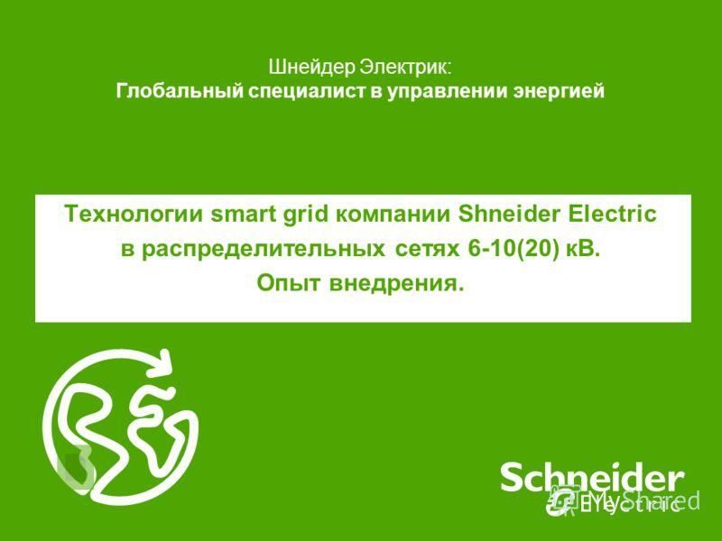 Шнейдер Электрик: Глобальный специалист в управлении энергией Технологии smart grid компании Shneider Electric в распределительных сетях 6-10(20) кВ. Опыт внедрения.