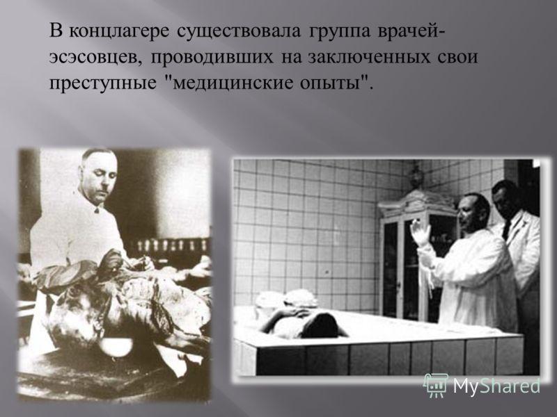 В концлагере существовала группа врачей - эсэсовцев, проводивших на заключенных свои преступные  медицинские опыты .