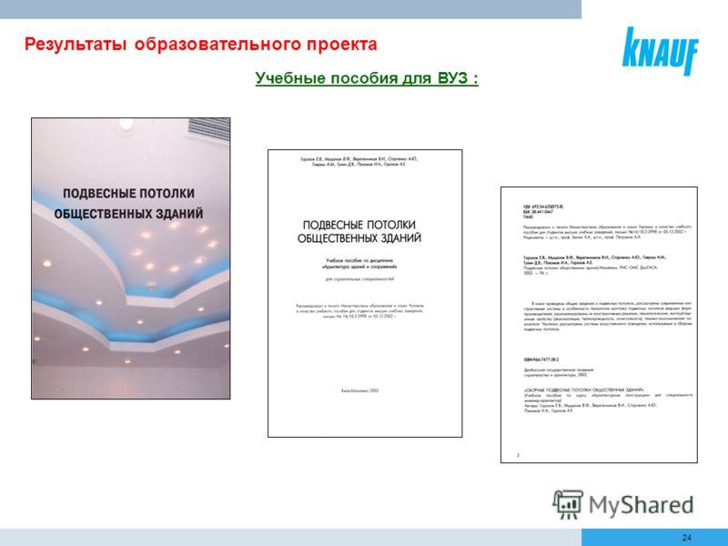 24 Результаты образовательного проекта Учебные пособия для ВУЗ :