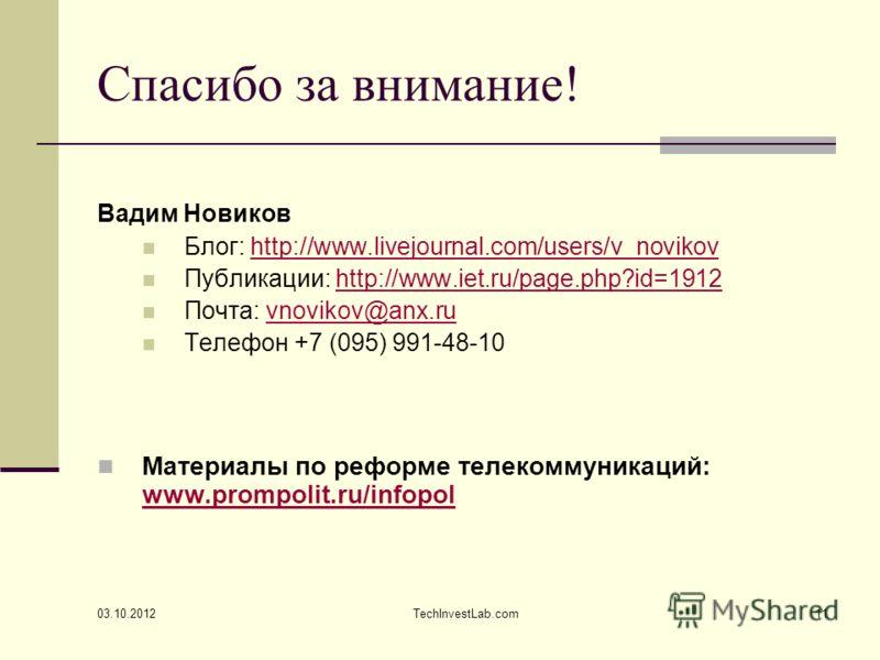 14.08.2012 TechInvestLab.com11 Спасибо за внимание! Вадим Новиков Блог: http://www.livejournal.com/users/v_novikovhttp://www.livejournal.com/users/v_novikov Публикации: http://www.iet.ru/page.php?id=1912http://www.iet.ru/page.php?id=1912 Почта: vnovi