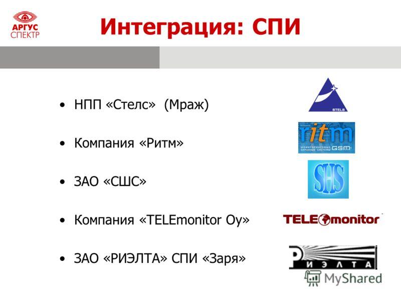 Интеграция: СПИ НПП «Cтелс» (Мраж) Компания «Ритм» ЗАО «СШС» Компания «TELEmonitor Oy» ЗАО «РИЭЛТА» СПИ «Заря»
