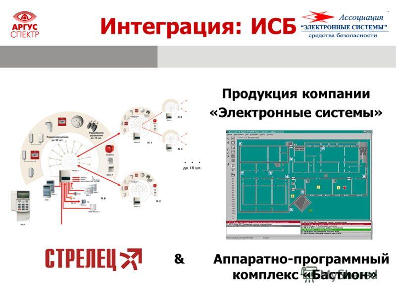 Интеграция: ИСБ & Аппаратно-программный комплекс «Бастион» Продукция компании «Электронные системы»