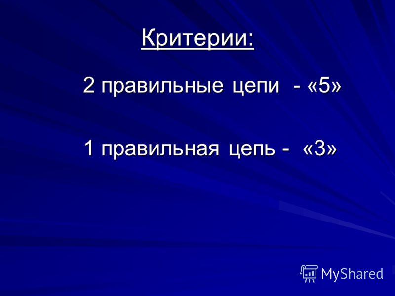 Критерии: 2 правильные цепи - «5» 1 правильная цепь - «3»