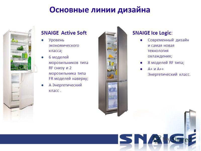 Основные линии дизайна SNAIGE Active Soft Уровень экономического класса; 6 моделей морозильников типа RF снизу и 2 морозильника типа FR моделей наверху; А Энергетический класс. SNAIGE Ice Logic: Современный дизайн и самая новая технология охлаждения;