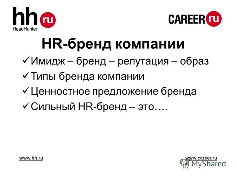 HR-бренд компании Имидж – бренд – репутация – образ Типы бренда компании Ценностное предложение бренда Сильный HR-бренд – это….
