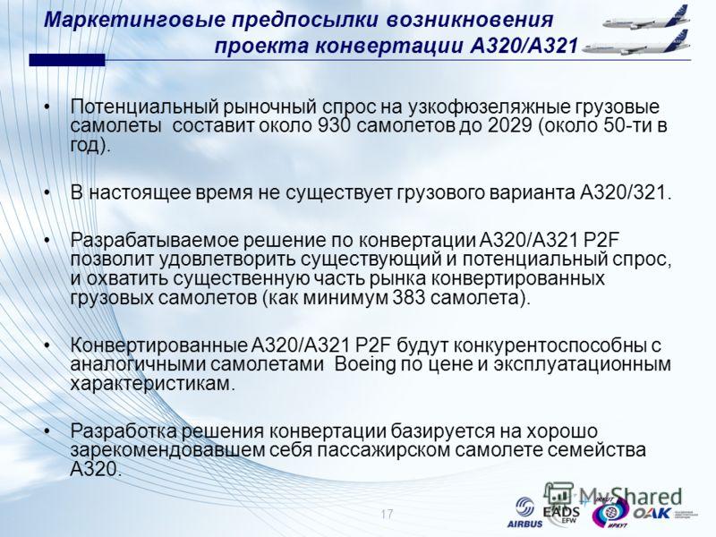 Маркетинговые предпосылки возникновения проекта конвертации A320/A321 Потенциальный рыночный спрос на узкофюзеляжные грузовые самолеты составит около 930 самолетов до 2029 (около 50-ти в год). В настоящее время не существует грузового варианта А320/3